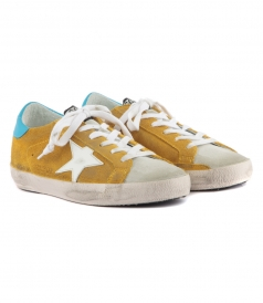 SUPERSTAR SNEAKERS IN YELLOW SUEDE FT CONTRASTING BLUE HILL TAB