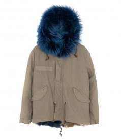 MINI PARKA IN OLIVE GREY FT BLUE FOX FUR TRIM