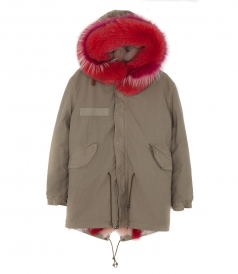 MIDI PARKA IN OLIVE GREY FT RED FOX FUR TRIM