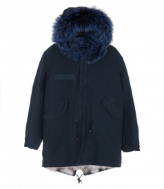MIDI PARKA IN NIGHT BLUE FT BLUE FOX FUR TRIM