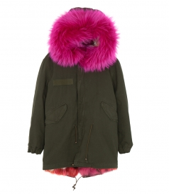 MIDI LONDON PARKA FT PINK SHORT FOX FUR