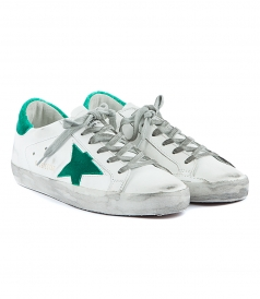 SUPERSTAR SNEAKERS FT GREEN CONTRASTING HEEL COUNTER