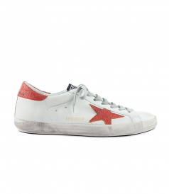 SUPERSTAR SNEAKERS FT STAR & HEEL TAB IN CRACKLE RED LEATHER