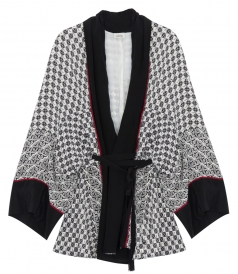 SCARF PRINT SHORT BELTED ROBE