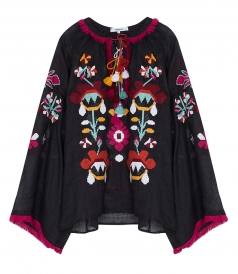 TUNICS & KAFTANS - ASTRID BLOUSE IN BLACK FT BURGUNDY EMBROIDERIES