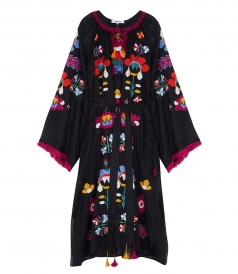 ASTRID MAXI DRESS BLACK FT MULTICOLORED EMBROIDERIES