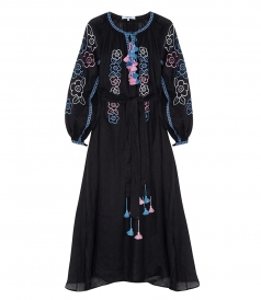 MAXI DRESS IN BLACK FT PINK & BLUE EMBOIDERIES