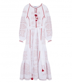 MAXI DRESS IN WHITE FT RED EMBROIDERIES