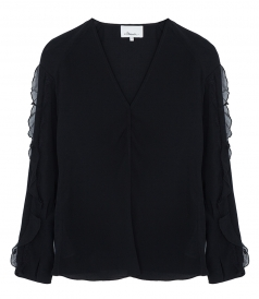 LONG SLEEVE V-NECK BLOUSE WITH LACE INSERT
