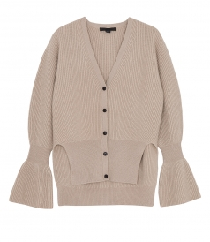 V NECK CARDIGAN WITH SIDESLITS