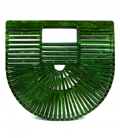 ACRYLIC ARK MALACHITE CLUTCH BAG