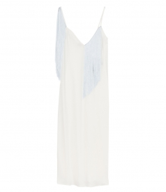 SALES - FANDANGO FRINGED CREPE SLIP DRESS