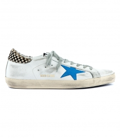 SUPERSTAR SNEAKERS FT BLACK & WHITE CHECKED HEEL DESIGN