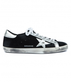 SUPERSTAR SNEAKERS IN BLACK FT SILVER DETAILING
