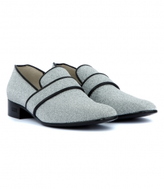 FLATS - GRANPA LOAFERS COVERED IN SILVER GLITTER