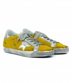 SUPERSTAR SNEAKERS IN YELLOW PONY HAIR