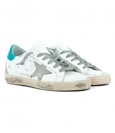SUPERSTAR SNEAKERS FT CONTRASTING AQUA BLUE HEEL COUNTER