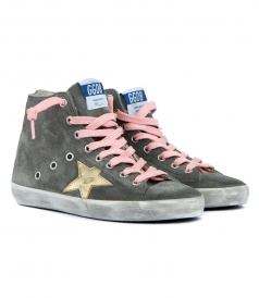 FRANCY SNEAKERS IN DEEP GREY FT METALLIC GOLD-TONE STAR