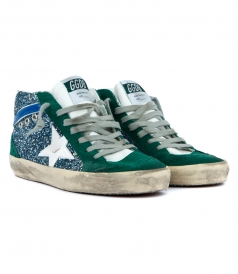 MID STAR SNEAKERS IN GREEN FT GLITTER DETAILING