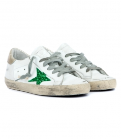 SUPERSTAR SNEAKERS FT GREEN GLITTER COATED STAR