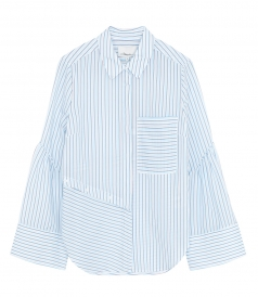 DECONSTRUCTED BUTTON DOWN STRIPED TOP