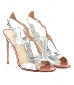 SILVER METAL KARUNG WAVES SANDALS