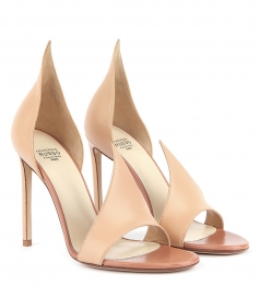 OPEN TOE NUDE SUEDE SANDALS