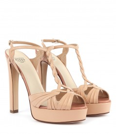 NUDE KID LEATHER PLATFORM SANDALS FT DELICATE MIGNON DETAILS