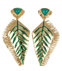 AURELIE BIDERMANN  - SELENA CLIP EARRINGS FT GREEN & TIRQUOISE ENAMEL