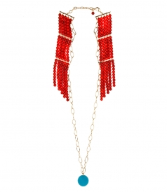 ANA LONG NECKLACE FT CORAL RESIN AND BLUE ENAMEL