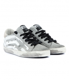 SUPERSTAR SNEAKERS IN SILVER GLITTER FT WHITE STRIPES