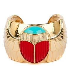 ELVIRA SCARAB CUFF FT BLUE ENAMEL & CORAL RESIN