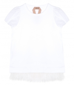 FEATHER TRIM T-SHIRT