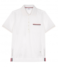 THOM BROWNE NEW YORK - SHORT SLEEVE POCKET POLO IN FINE MERCERIZED PIQUE