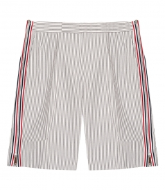 THOM BROWNE NEW YORK - STRIPED SIDE ZIPPERS SHORTS