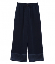 SILK CROPPED FLARED TROUSERS