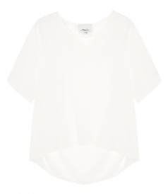 V NECK TOP WITH RAW EDGE