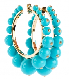 ANA HOOP EARRINGS FT TURQUOISE RESIN PEARLS