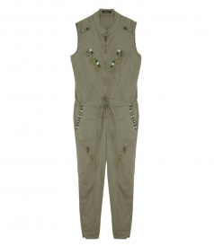 ARMY JUMPSUIT FT EMBROIDERED STONES
