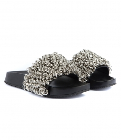 SUKI SLIDE SANDALS FT METAL RING EMBROIDERY
