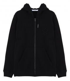STAR EMBROIDERED ZIP COTTON HOODIE