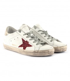 SUPERSTAR SNEAKERS FT RED GLITTER STAR & GOLD HEEL COUNTER