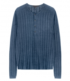 LONG SLEEVE RIBBED STRIPES HENLEY