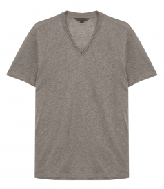 V-NECK TEE WITH JERSEY DETAILS