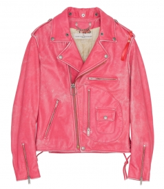 PINK OFF-CENTER ZIPPED LEATHER JACKET