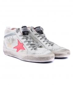 MID STAR SNEAKERS IN WHITE FT PINK SHINY LEATHER STAR