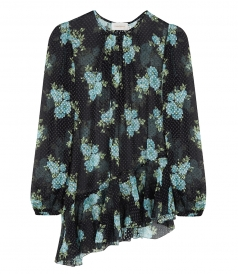 ASYMMETRIC BLOUSE WITH FLOWERS & POLKA DOTS