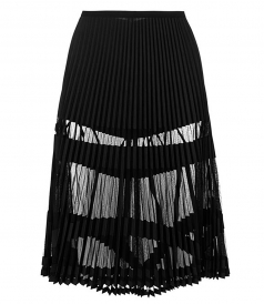 SHEER PANELLED PLEATED SKIRT