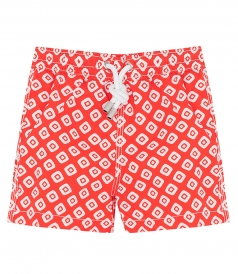 ACHILLE WHITE RHOMBUS PRINTED REGULAR SWIMSHORTS