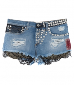 STUDDED DENIM SHORTS FT PATCHES & LACE DETAILING